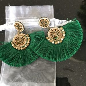 Baublebar Brand Beautiful Emerald Fringe Earrings